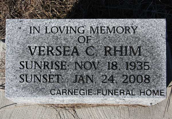 Versea C. Rhim Gravestone Photo