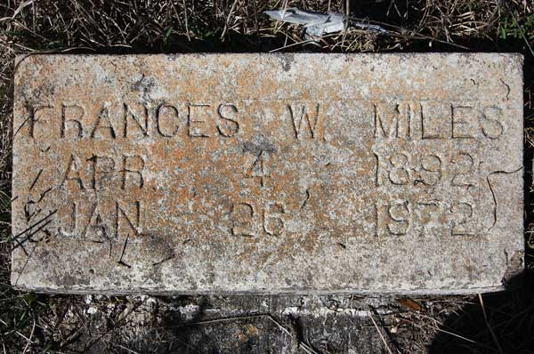 Frances W. Miles Gravestone Photo