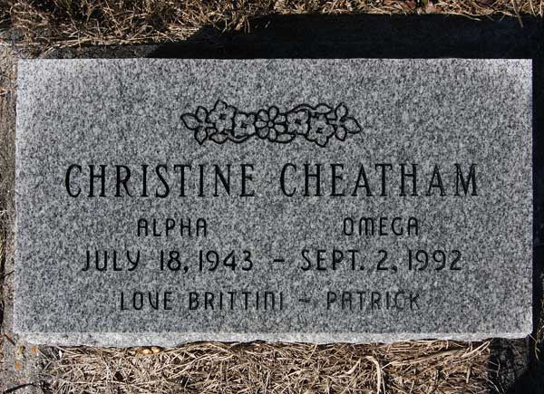 Christine Cheatham Gravestone Photo