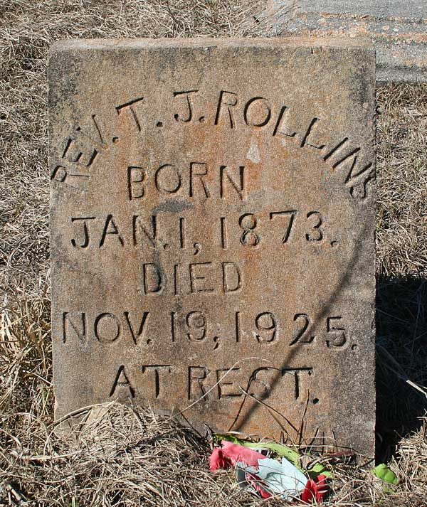 Rev. T.J. Rollins Gravestone Photo