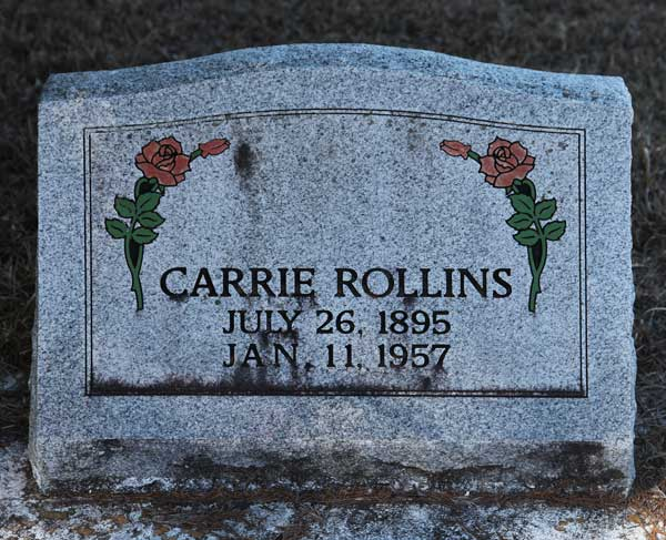Carrie Rollins Gravestone Photo