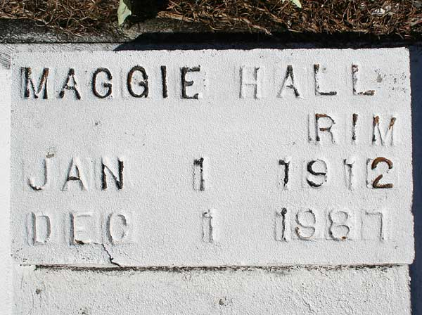 Maggie Hall Rim Gravestone Photo