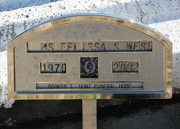 Felissa S. West Gravestone Photo