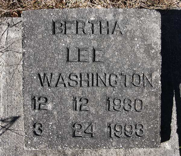 Bertha Lee Washington Gravestone Photo