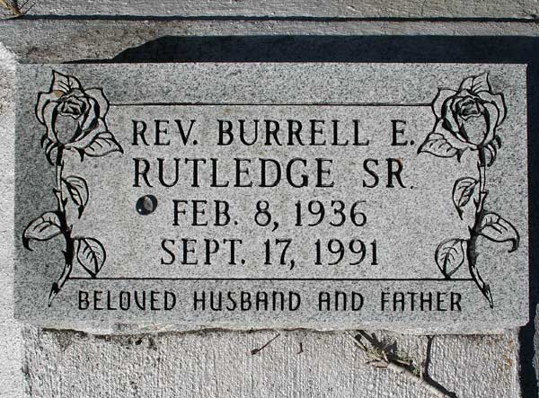 Rev. Burrell E. Rutledge Gravestone Photo