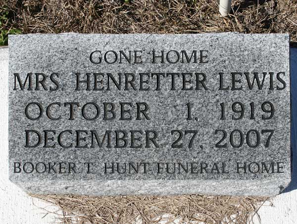 Henretter Lewis Gravestone Photo