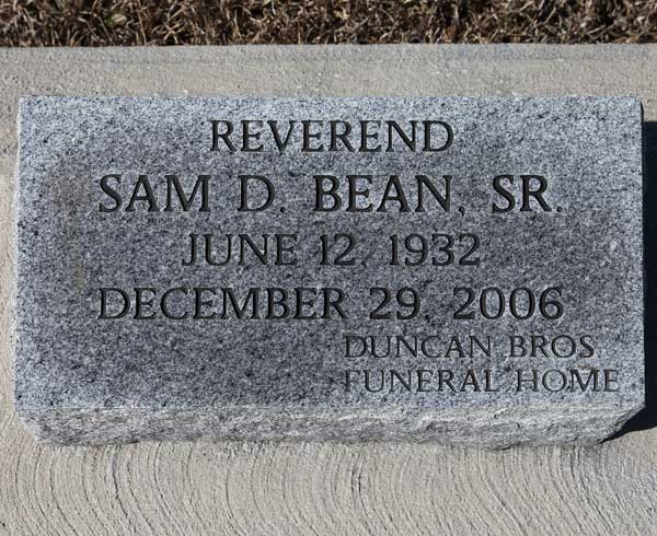 Sam D. Bean Gravestone Photo