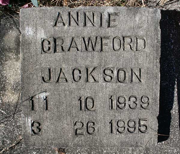 Annie Crawford Jackson Gravestone Photo