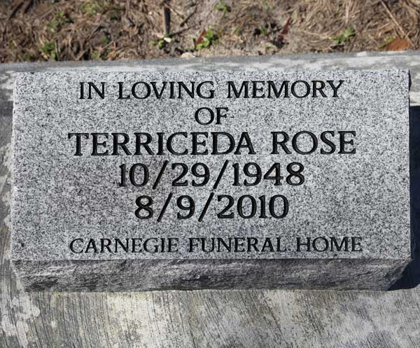 Terriceda Rose Gravestone Photo