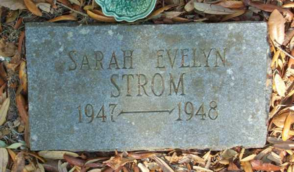 Sarah Evelyn Strom Gravestone Photo
