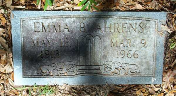 Emma B. Ahrens Gravestone Photo