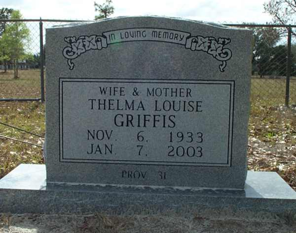 Thelma Louise Griffis Gravestone Photo