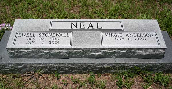 Ewell Stonewall & Virgie Anderson Neal Gravestone Photo