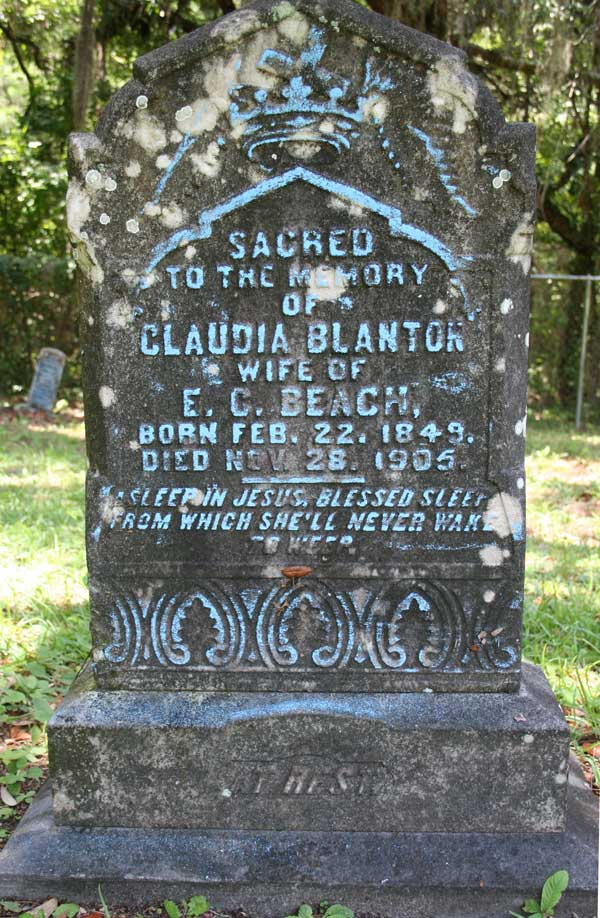 Claudia Blanton Beach Gravestone Photo