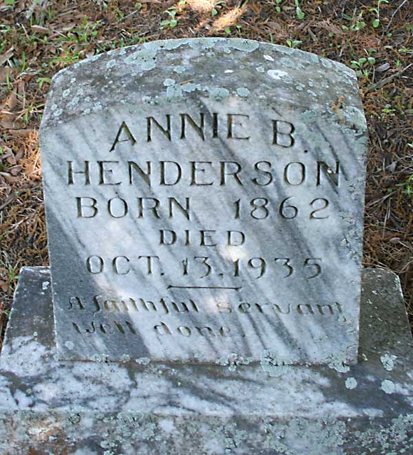 ANNIE B. HENDERSON Gravestone Photo