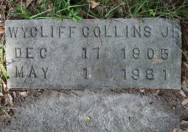 Wycliff Collins Gravestone Photo
