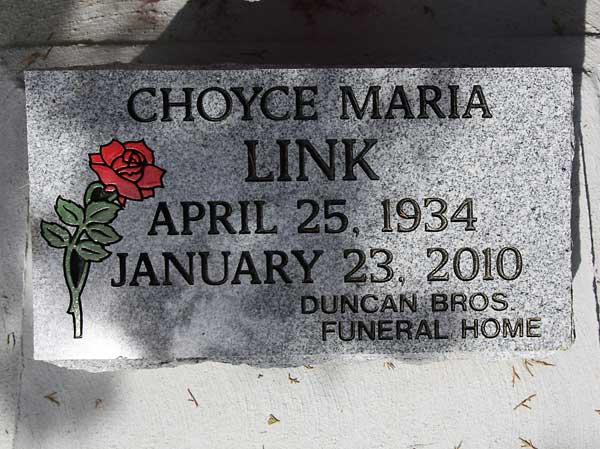 Choyce Maria Link Gravestone Photo