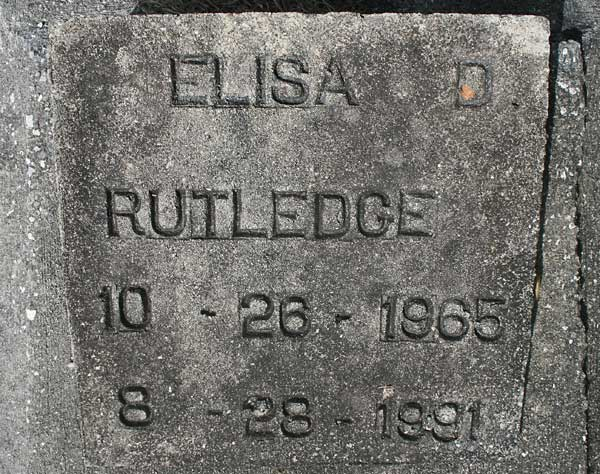 Elisa D. Rutledge Gravestone Photo