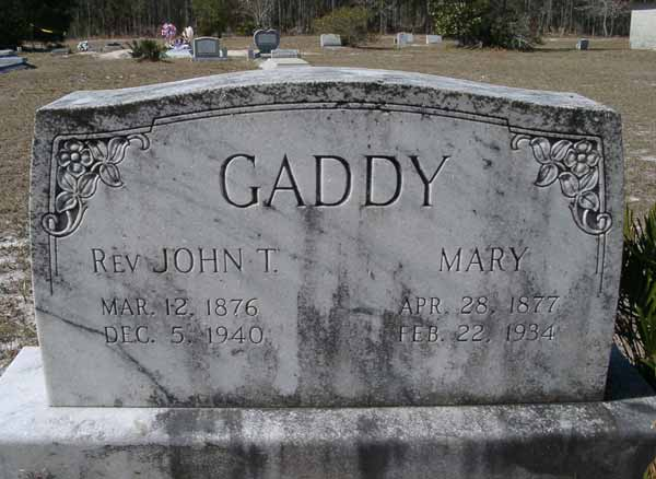 Rev.John T./Mary Gaddy Gravestone Photo