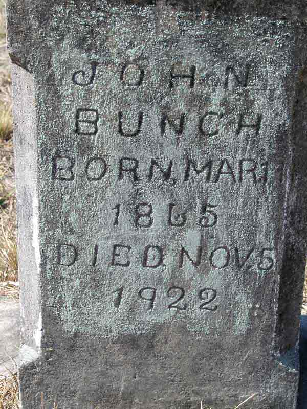 John Bunch Gravestone Photo