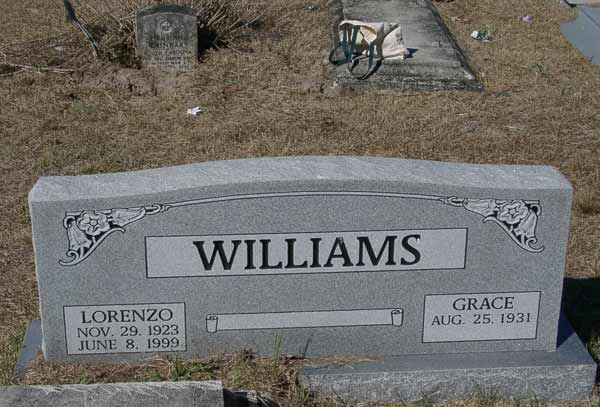 Lorenzo/Grace Williams Gravestone Photo